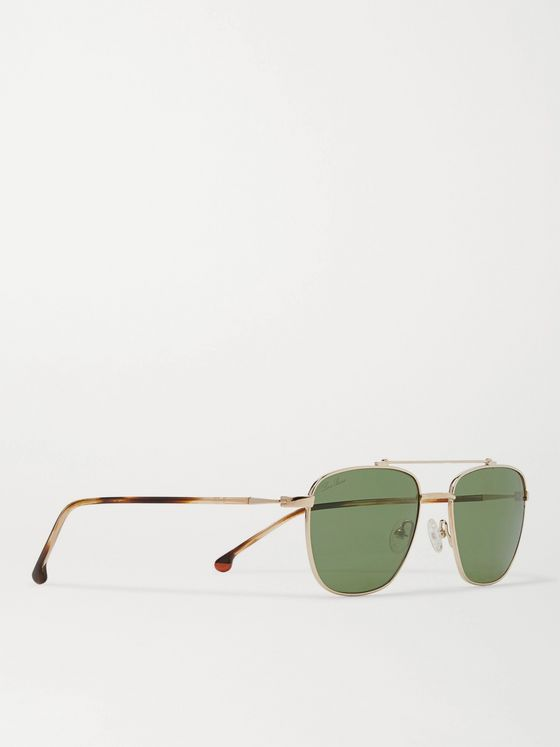 Loro Piana Open 54 Aviator-Style Gold-Tone Titanium and Tortoiseshell Acetate Polarised Sunglasses