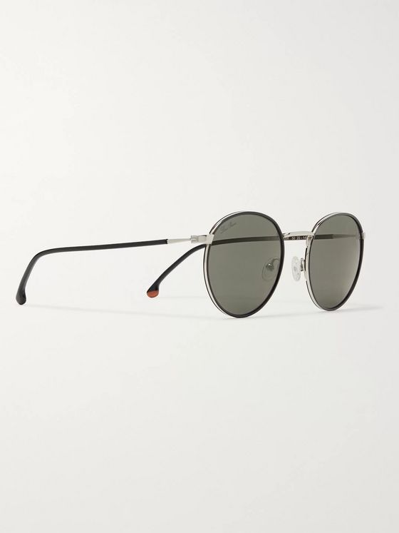 Loro Piana Weekend Turtle 50 Round-Frame Silver-Tone Titanium and Acetate Sunglasses