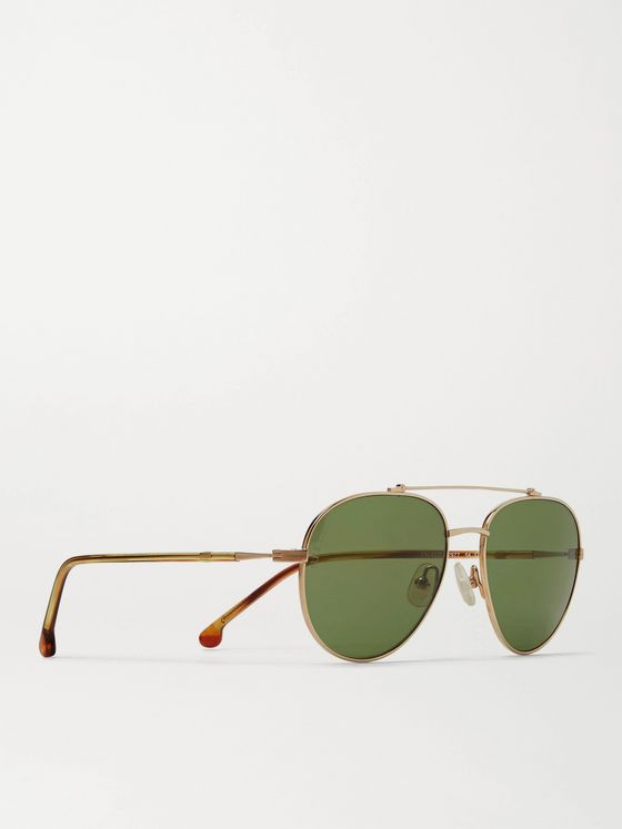 Loro Piana Roadster 54 Aviator-Style Gold-Tone Titanium and Acetate Polarised Sunglasses
