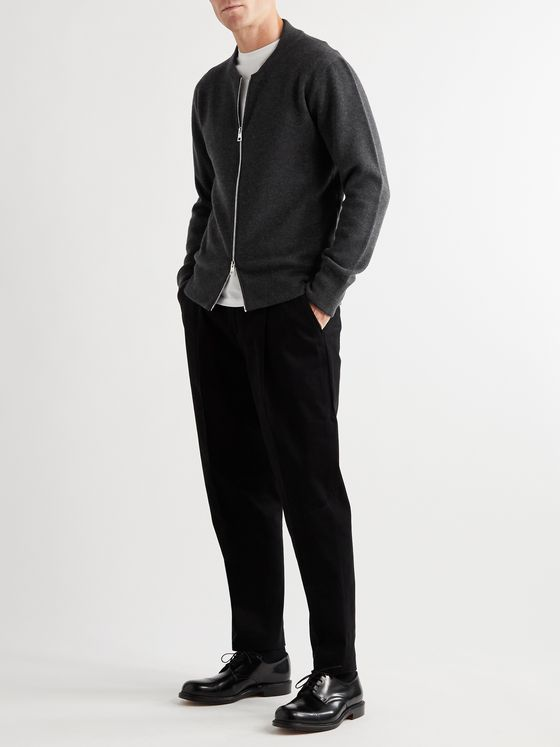 MR P. Double-Faced Cashmere Zip-Up Sweater
