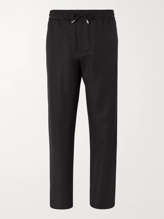 Mr P. Wide-Leg Virgin Wool-Twill Drawstring Trousers