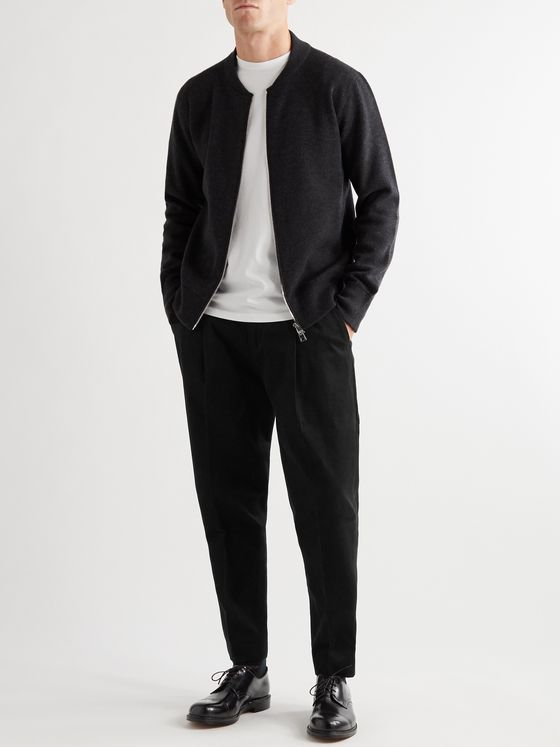 Mr P. Tapered Pleated Cotton and Cashmere-Blend Moleskin Trousers