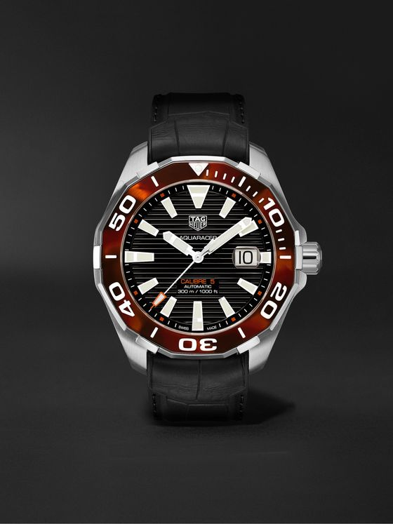TAG Heuer Aquaracer Automatic 43mm Stainless Steel and Croc-Effect Rubber Watch, Ref. No. WAY201N.FT6177