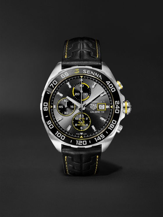 TAG Heuer Formula 1 x Senna Chronograph 44mm Stainless Steel and Leather Watch, Ref. No. CAZ201B.FC6487