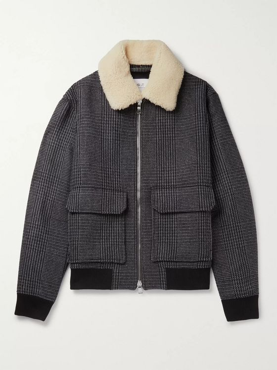 Shearling Trimmed Prince of Wales Checked Wool Blend Bomber Jacket