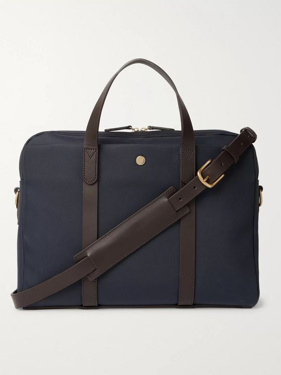 Mismo Leather-Trimmed Nylon Briefcase