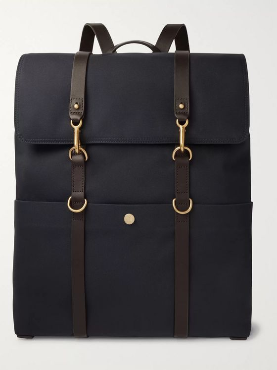 Mismo Leather-Trimmed Canvas Backpack