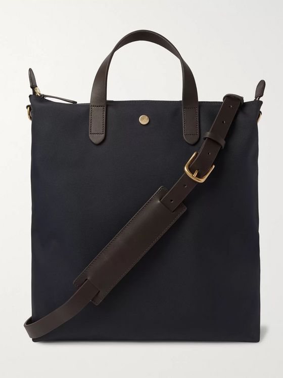 Mismo Leather-Trimmed Nylon Tote Bag