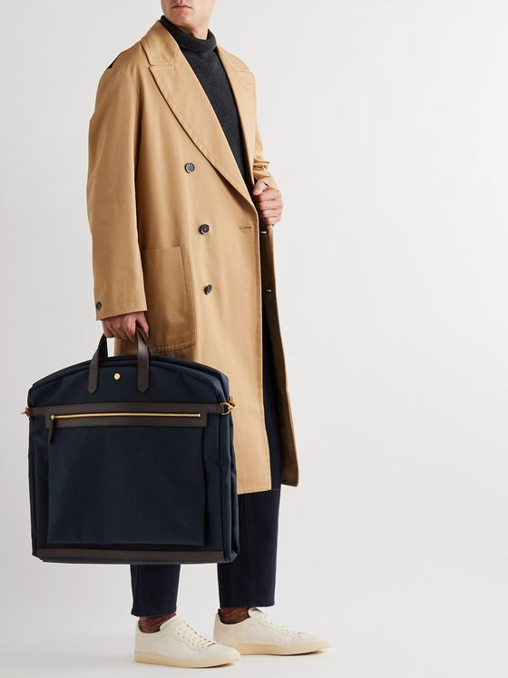 MISMO Leather-Trimmed Nylon Garment Bag