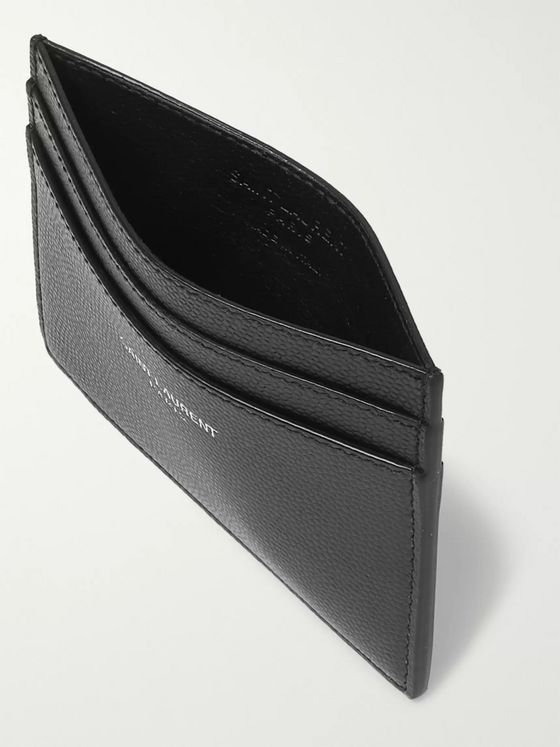 SAINT LAURENT Logo-Embossed Pebble-Grain Leather Cardholder