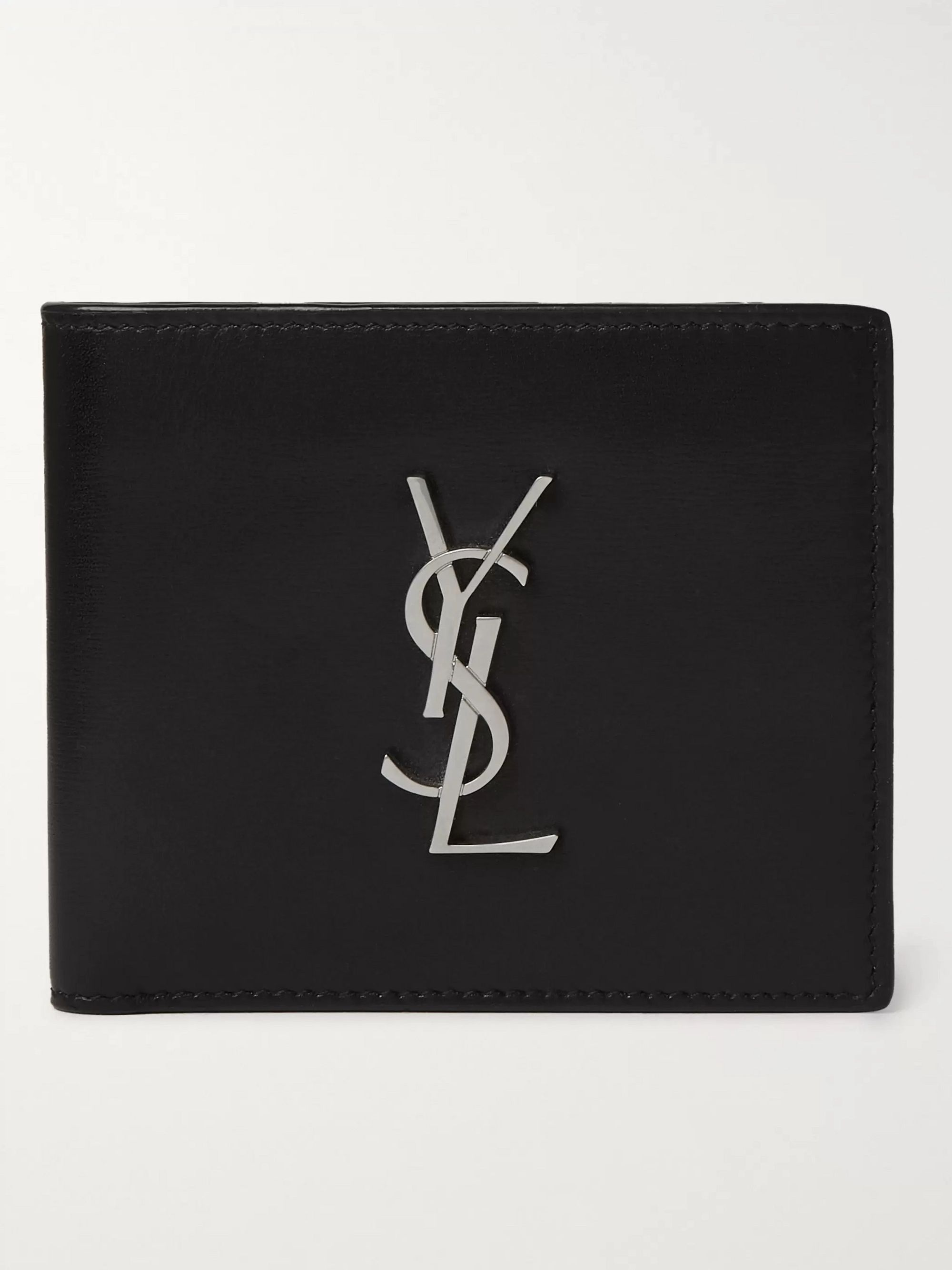 생 로랑 반지갑 Saint Laurent Logo-Appliqued Leather Billfold Wallet,Black