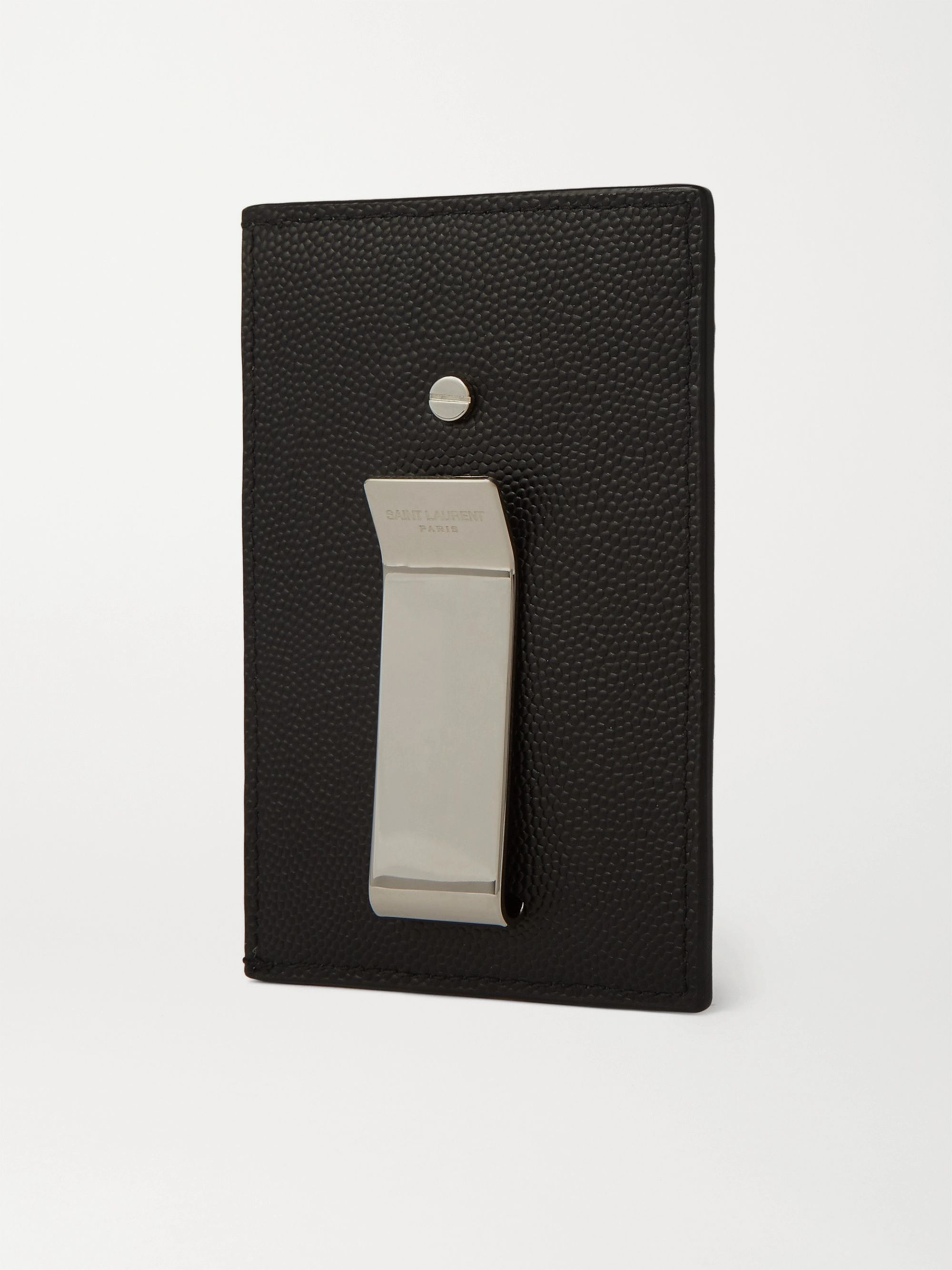 SAINT LAURENT Pebble-Grain Leather Cardholder with Money Clip