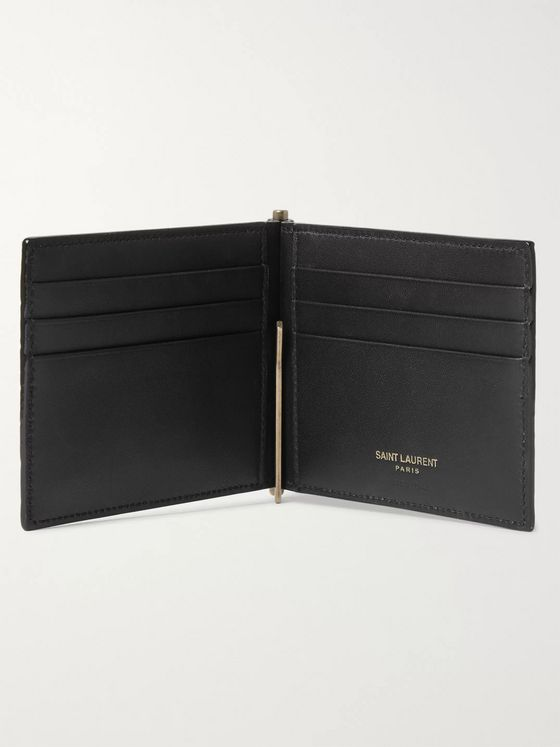 SAINT LAURENT Logo-Appliquéd Croc-Effect Leather Billfold Wallet with Money Clip