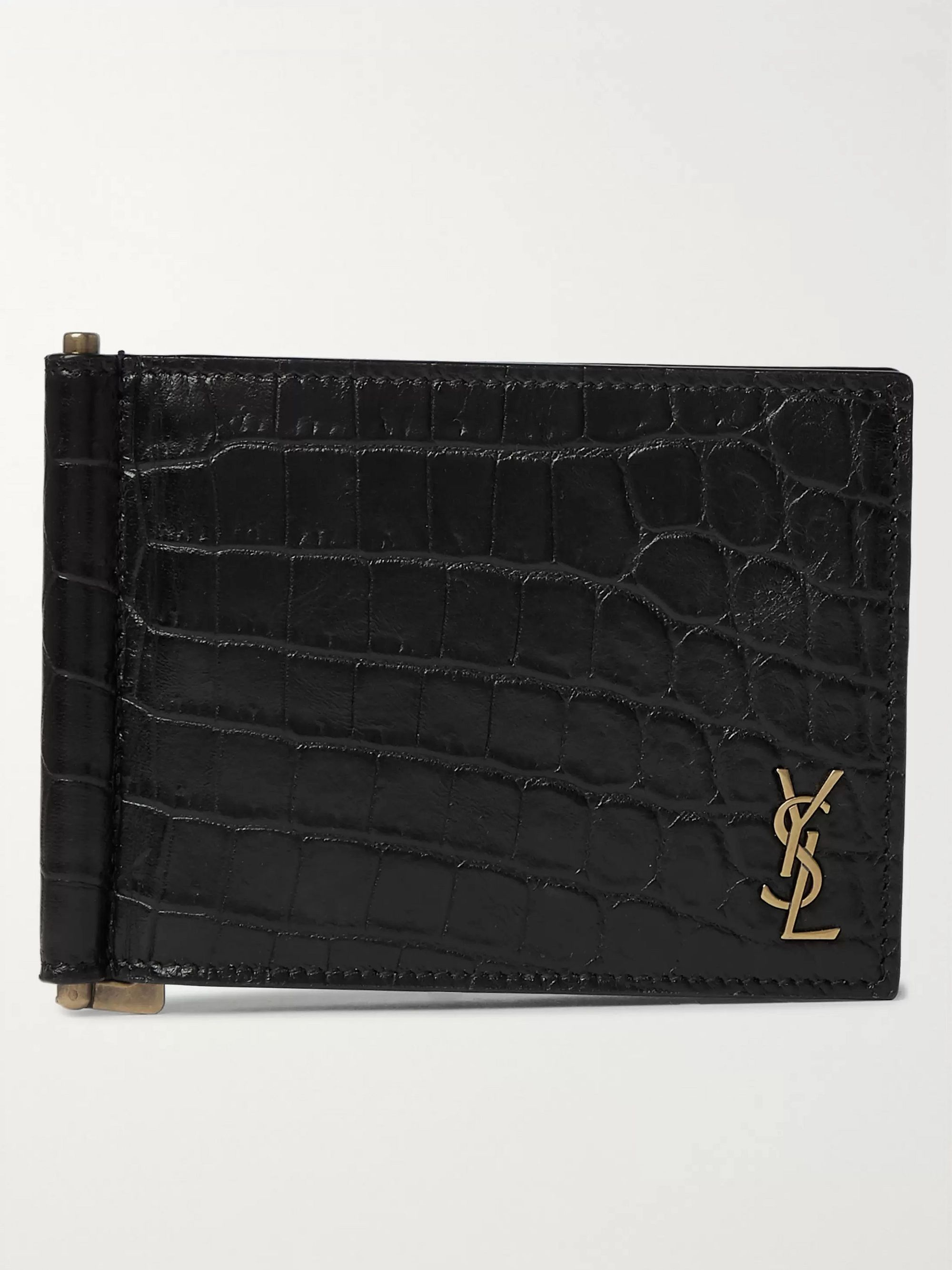생 로랑 반지갑 Saint Laurent Logo-Appliqued Croc-Effect Leather Billfold Wallet with Money Clip,Black