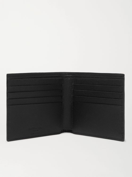 SAINT LAURENT Logo-Embossed Pebble-Grain Leather Billfold Wallet