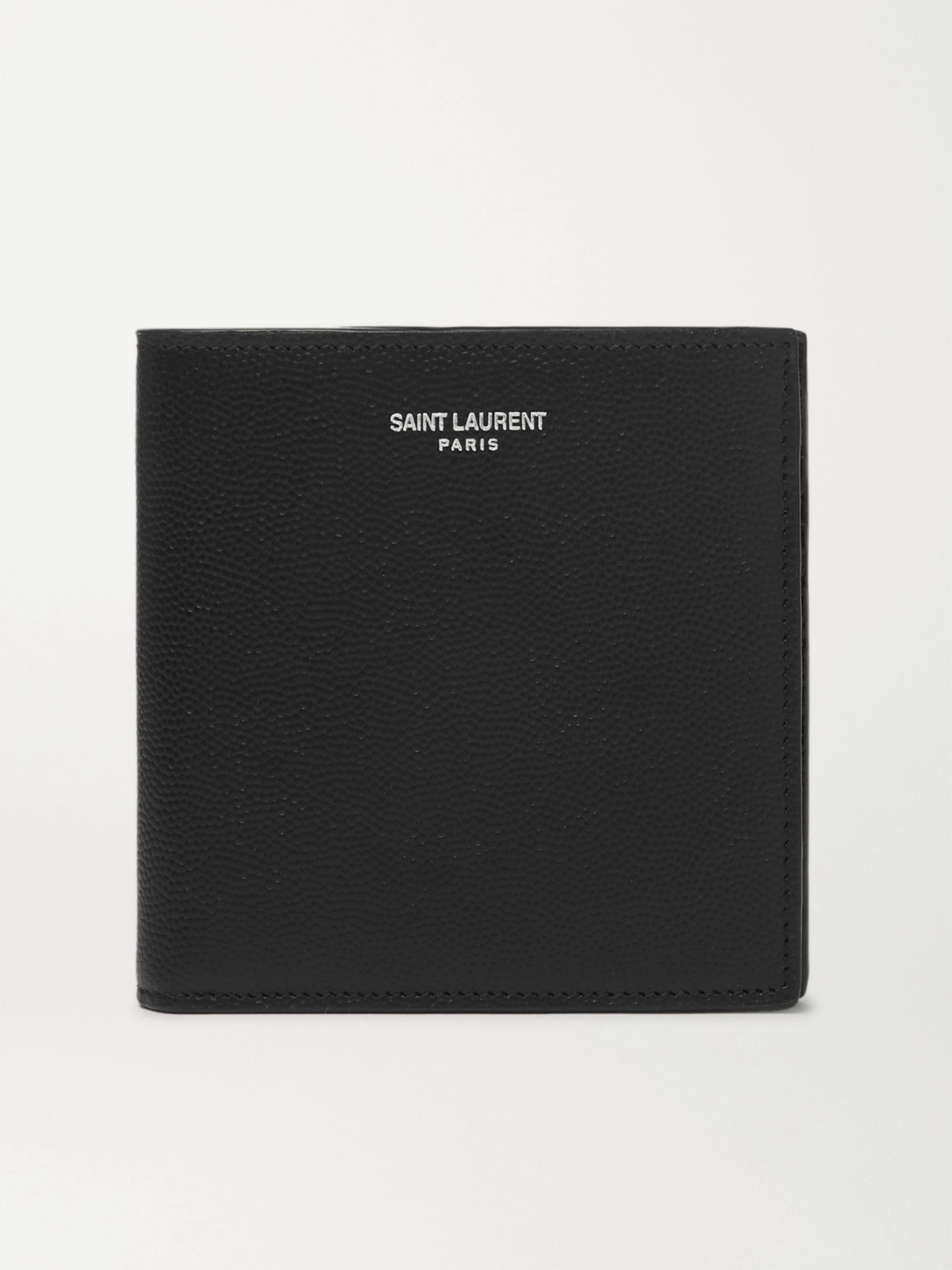 생 로랑 반지갑 Saint Laurent Logo-Print Pebble-Grain Leather Billfold Wallet,Black