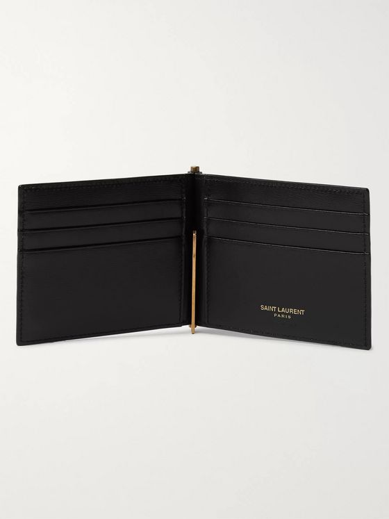 SAINT LAURENT Logo-Appliquéd Leather Billfold Wallet with Money Clip