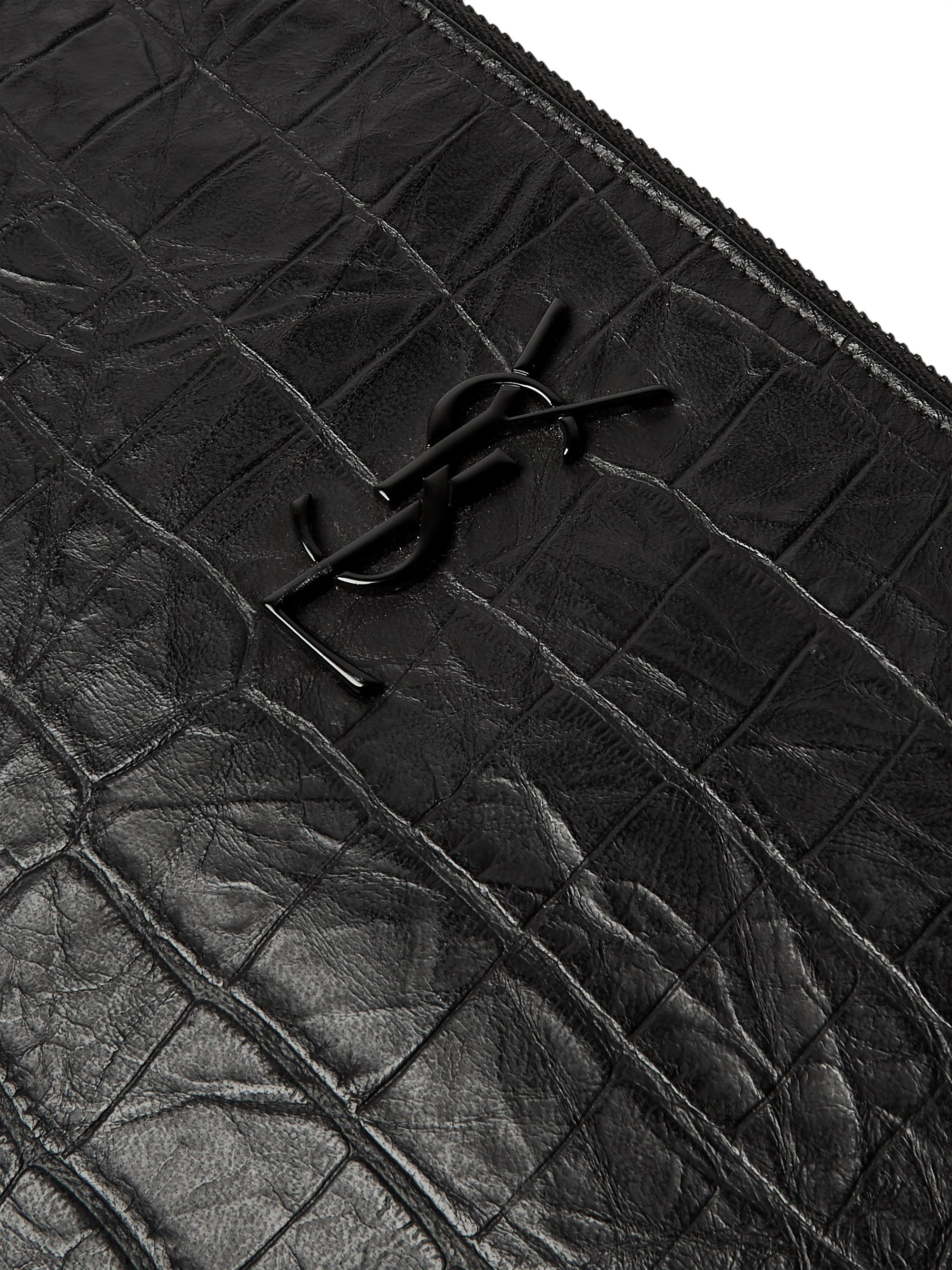 SAINT LAURENT Logo-Appliquéd Croc-Effect Leather Pouch