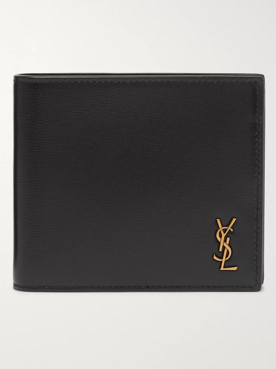 SAINT LAURENT Logo-Appliquéd Leather Billfold Wallet