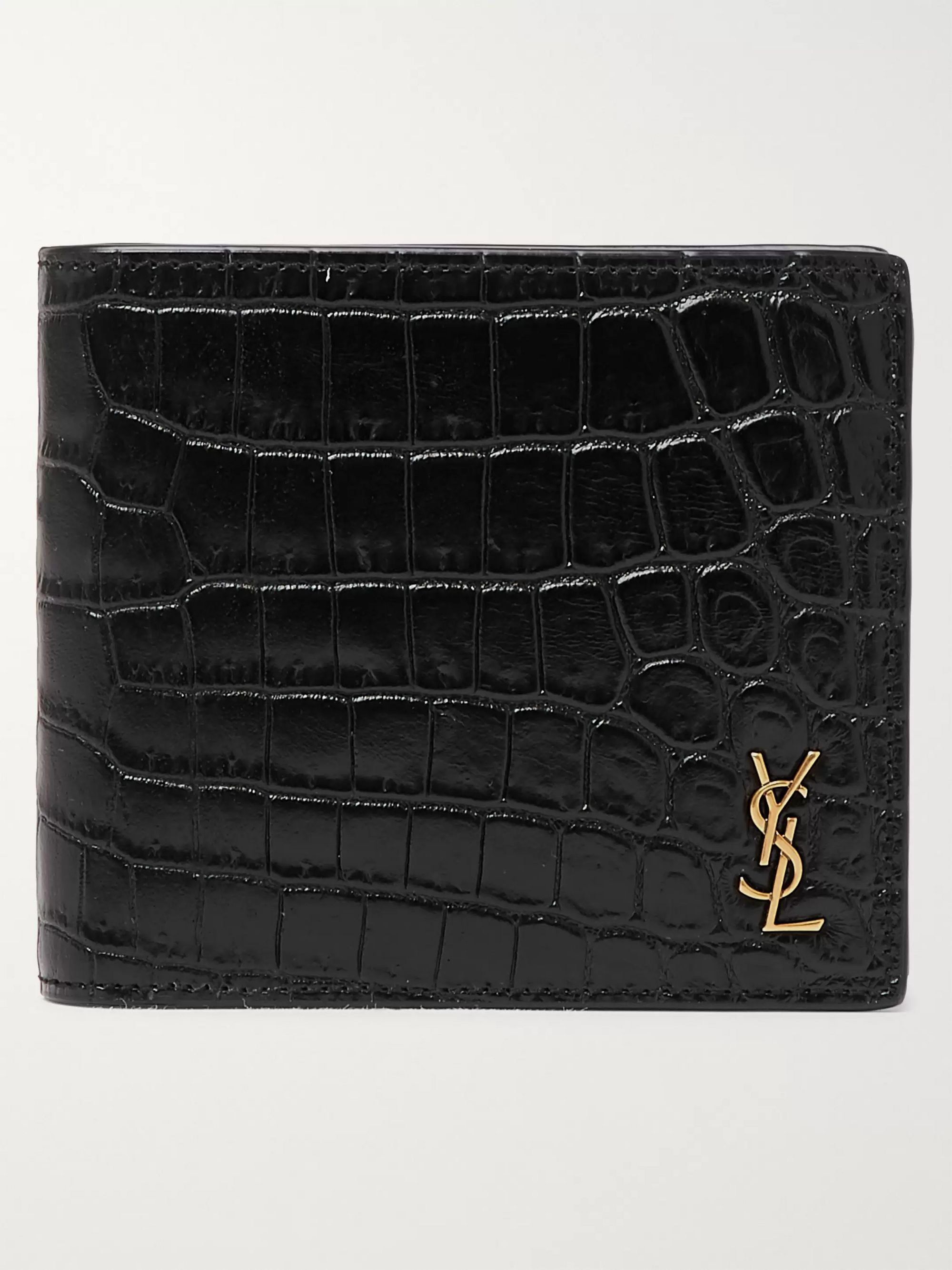 생 로랑 반지갑 Saint Laurent Logo-Appliqued Croc-Effect Patent-Leather Billfold Wallet,Black
