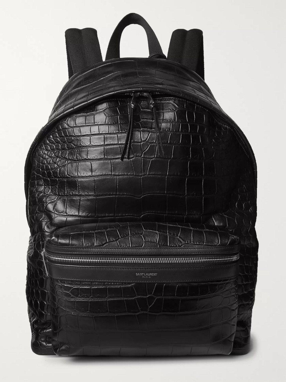 SAINT LAURENT - City Croc-Effect Leather Backpack - Men - Black