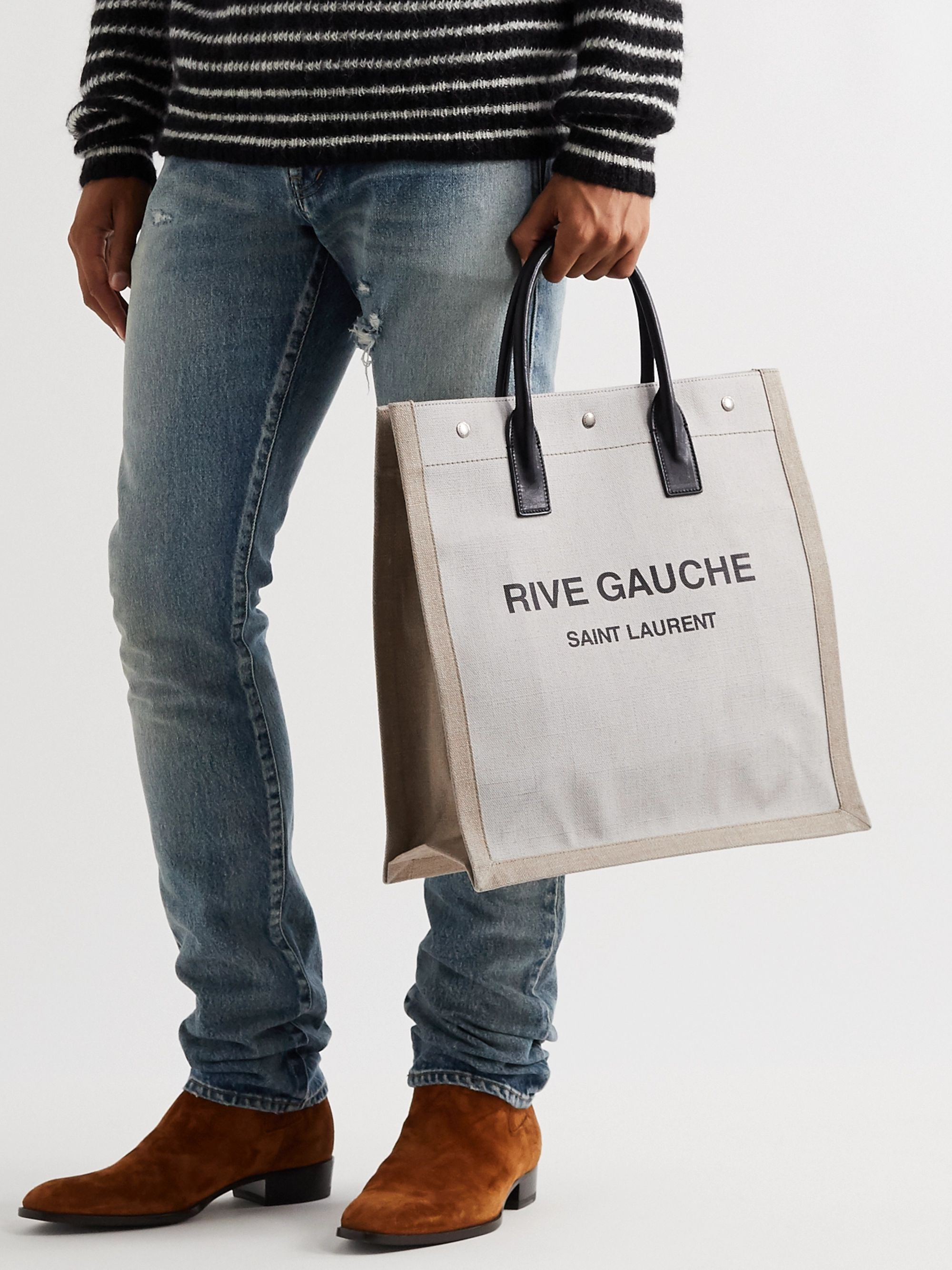 SAINT LAURENT Noe Leather-Trimmed Logo-Print Canvas Tote Bag