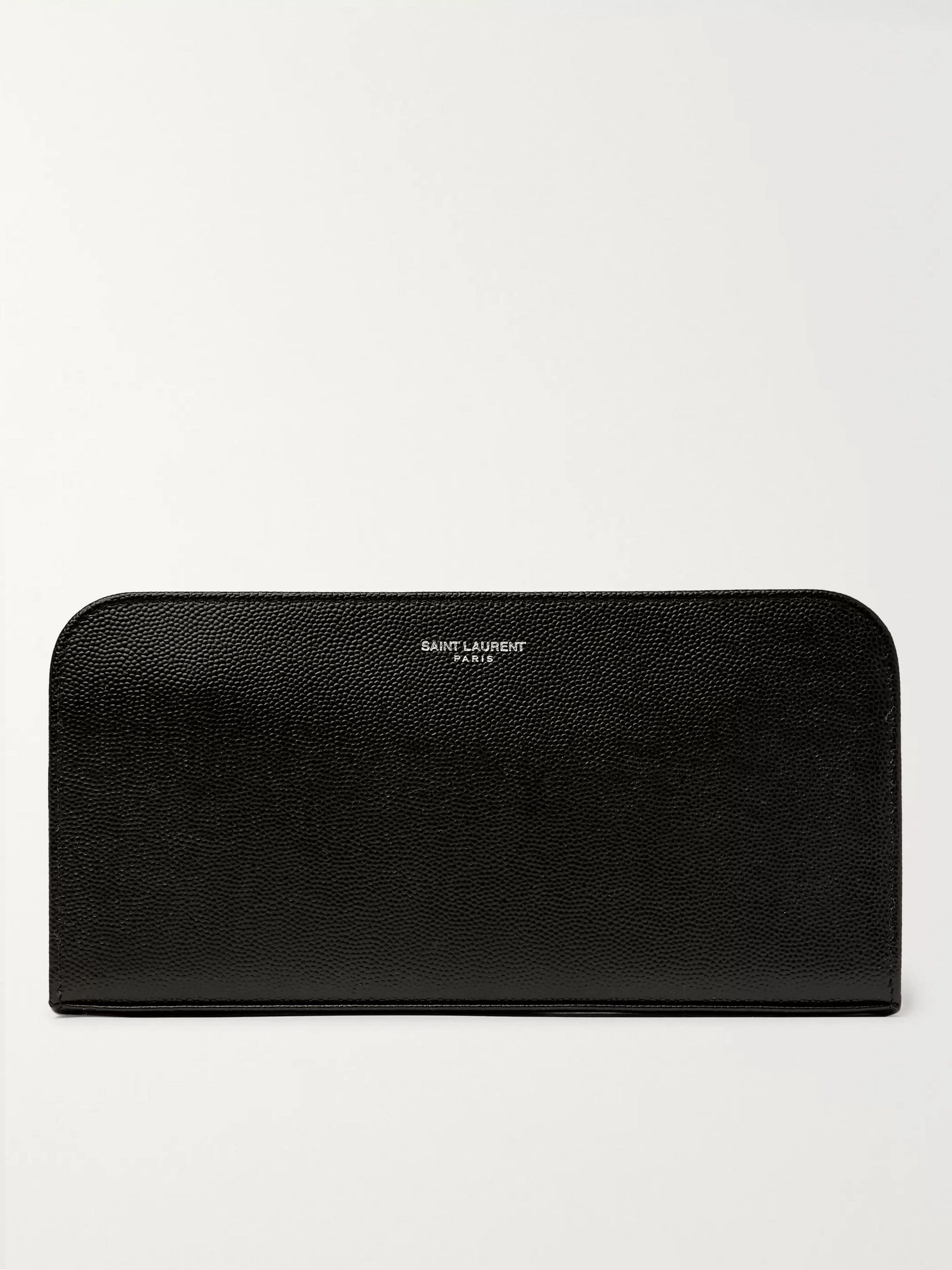 생 로랑 지갑 Saint Laurent Pebble-Grain Leather Zip-Around Wallet,Black