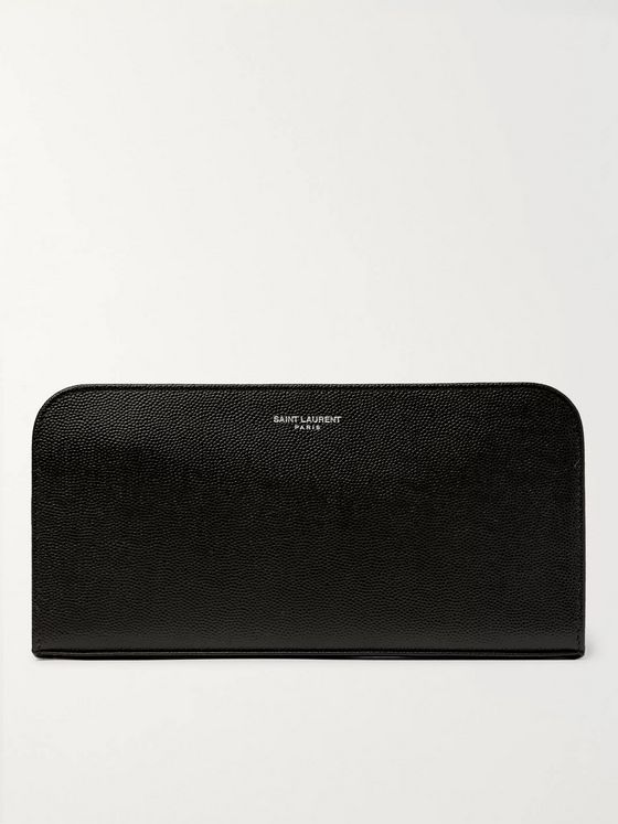 SAINT LAURENT Pebble-Grain Leather Zip-Around Wallet