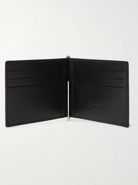 SAINT LAURENT Pebble-Grain Leather Billfold Wallet with Money Clip