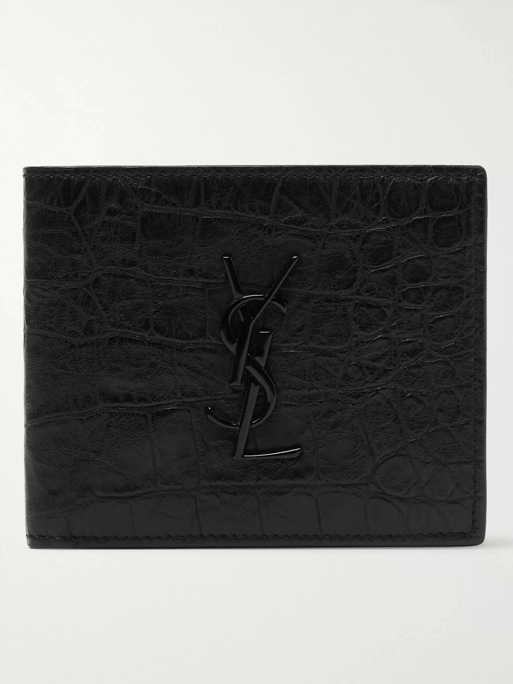 생 로랑 반지갑 Saint Laurent Logo-Appliqued Croc-Effect Leather Billfold Wallet,Black
