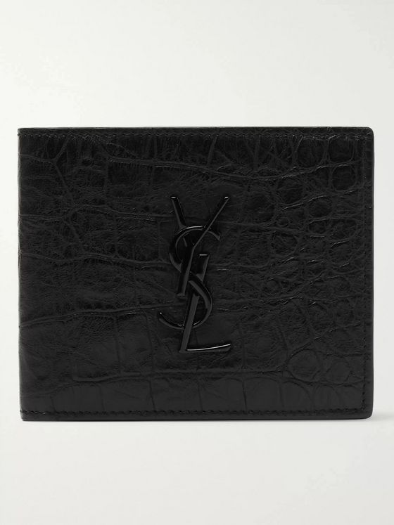 SAINT LAURENT Logo-Appliquéd Croc-Effect Leather Billfold Wallet