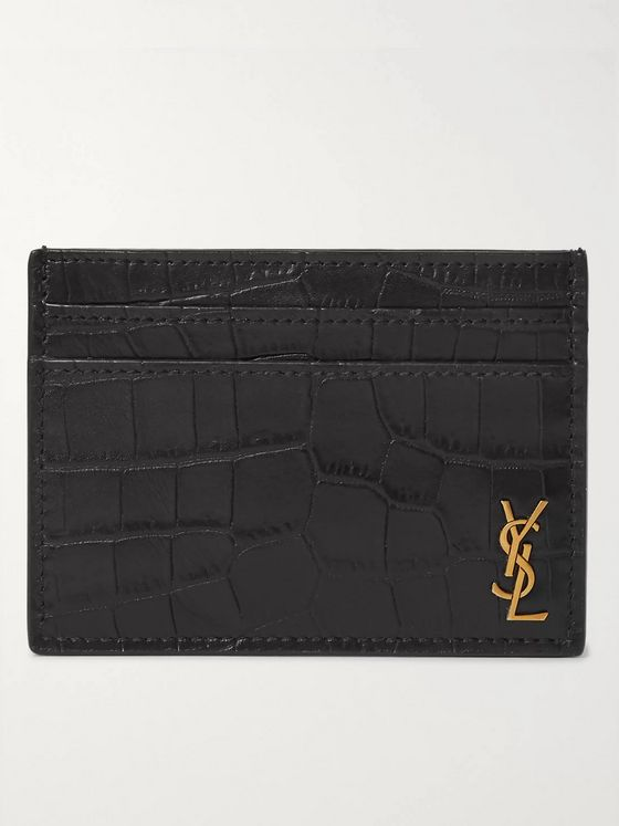 SAINT LAURENT Logo-Appliquéd Croc-Effect Leather Cardholder