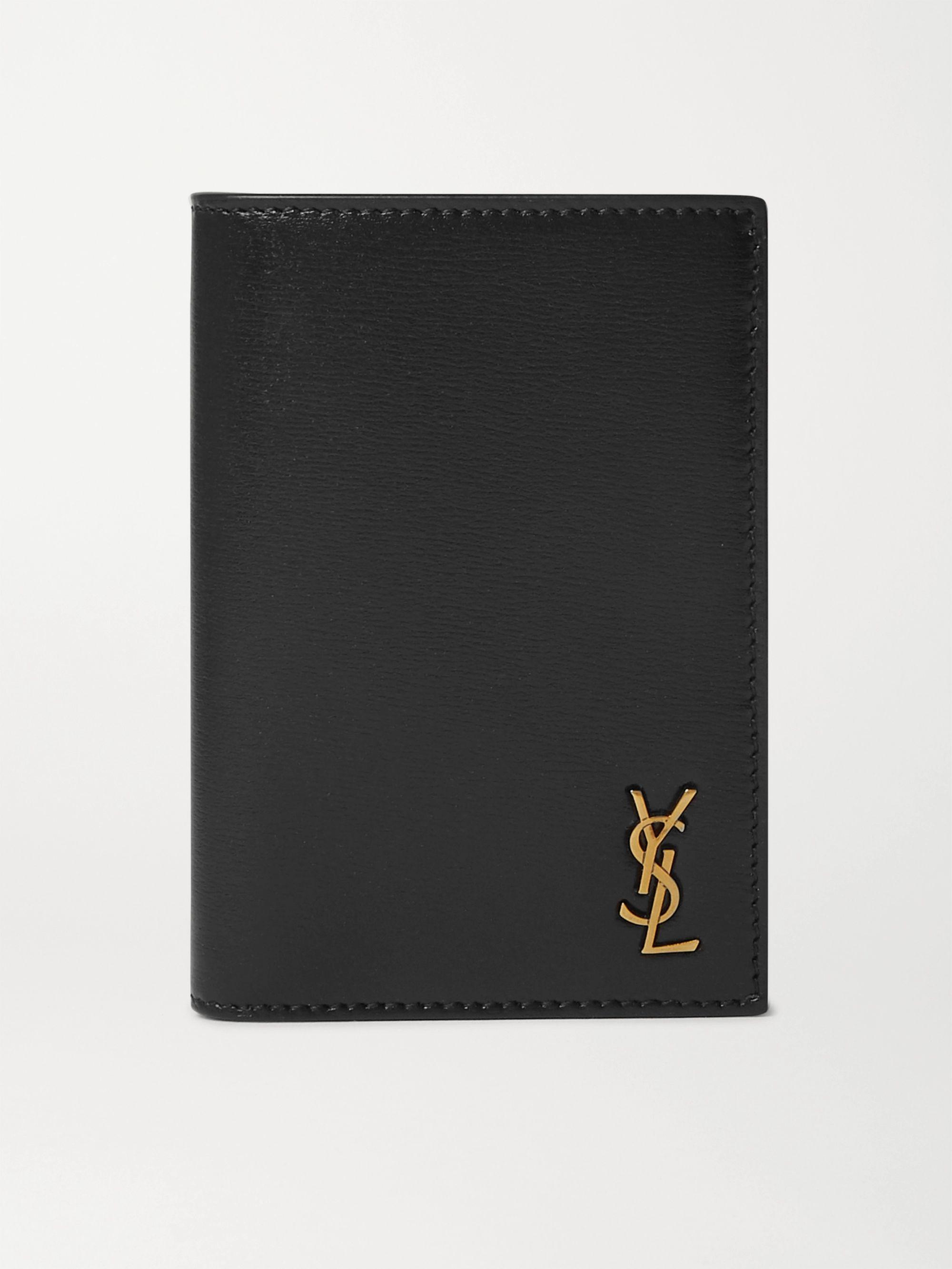 생 로랑 타이니 모노그램 반지갑 - 샤이니 레더 블랙 Saint Laurent Logo-Appliqued Leather Billfold Wallet,Black