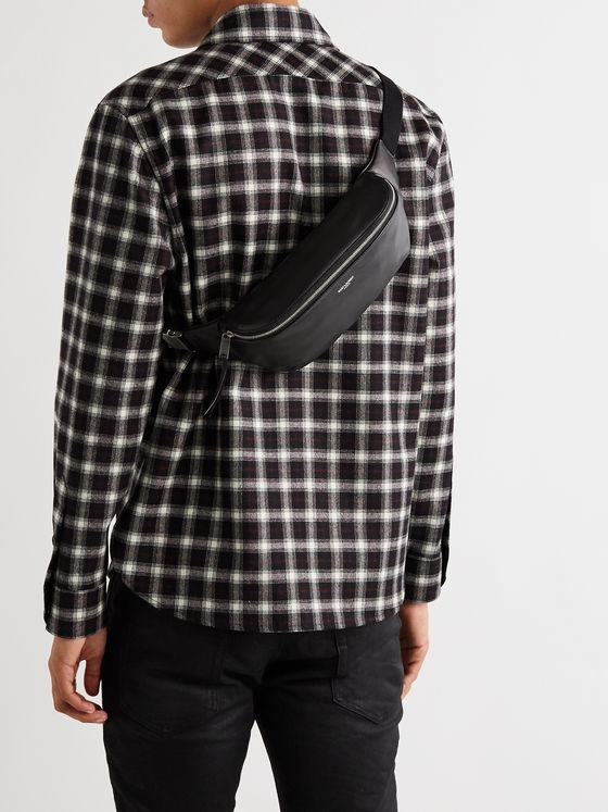 SAINT LAURENT Logo-Debossed Leather Belt Bag