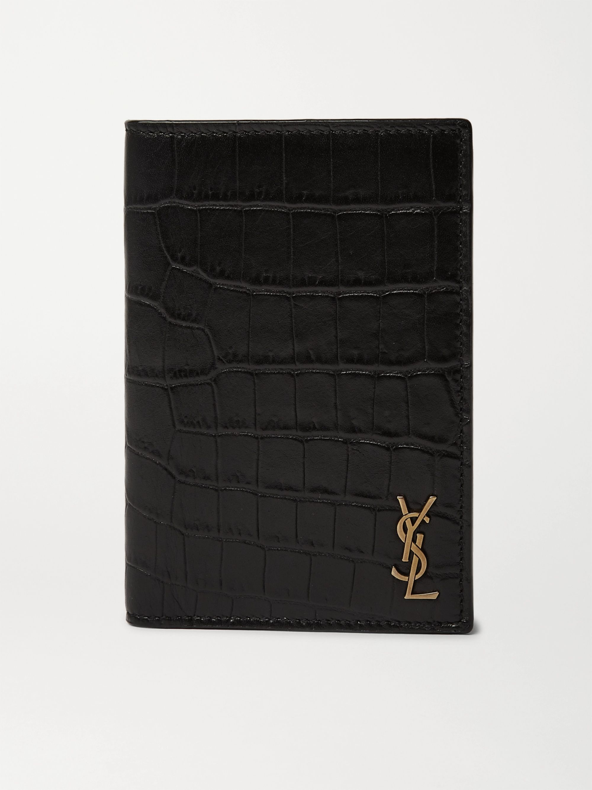 생 로랑 타이니 모노그램 반지갑 - 크로커다일 블랙 Saint Laurent Logo-Appliqued Croc-Effect Leather Billfold Wallet,Black