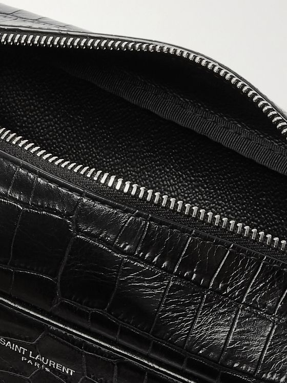 SAINT LAURENT Croc-Effect Leather Wash Bag