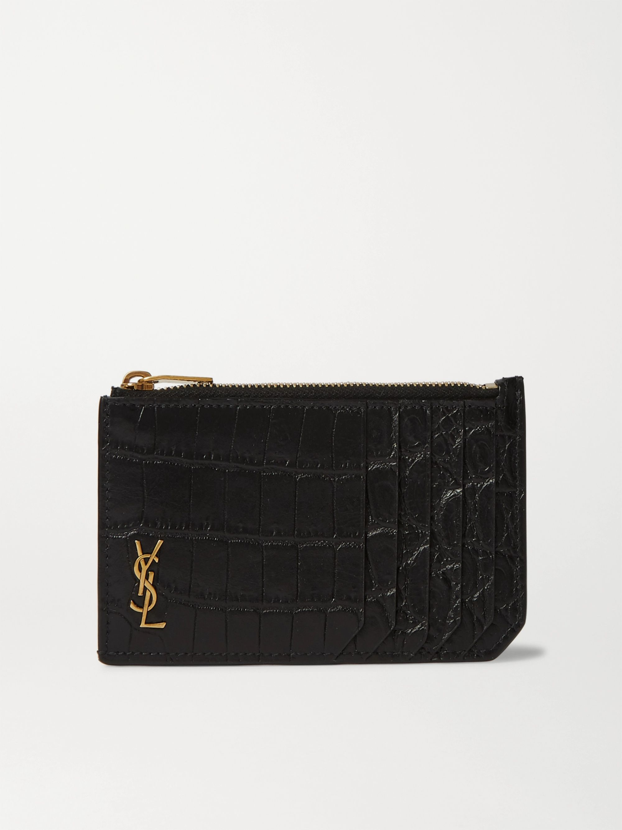 생 로랑 지퍼 카드 케이스 - 크로커다일 블랙 Saint Laurent Logo-Appliqued Croc-Effect Leather Wallet,Black