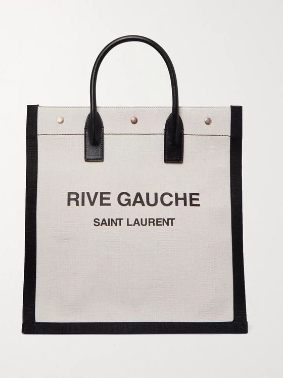 SAINT LAURENT Noe Logo-Print Leather-Trimmed Canvas Tote Bag
