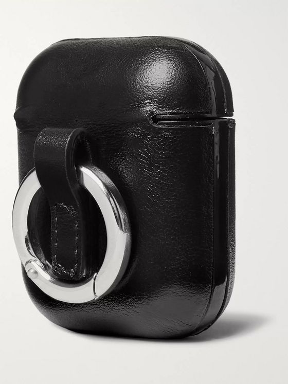 SAINT LAURENT Logo-Print Leather AirPods Case