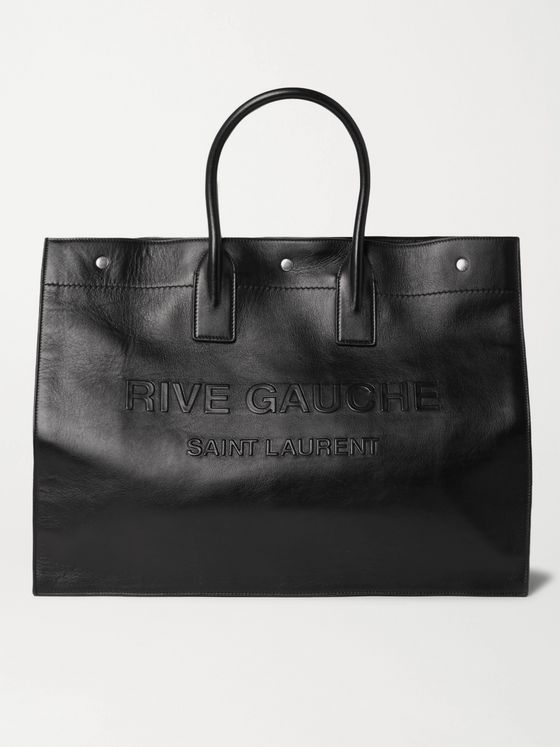 SAINT LAURENT Noe Logo-Embossed Leather Tote Bag