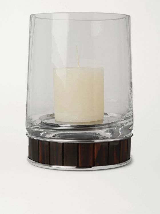 LORENZI MILANO Ebony and Glass Candle Holder