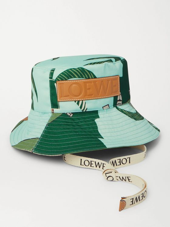 LOEWE + Ken Price Leather-Trimmed Printed Cotton-Canvas Bucket Hat