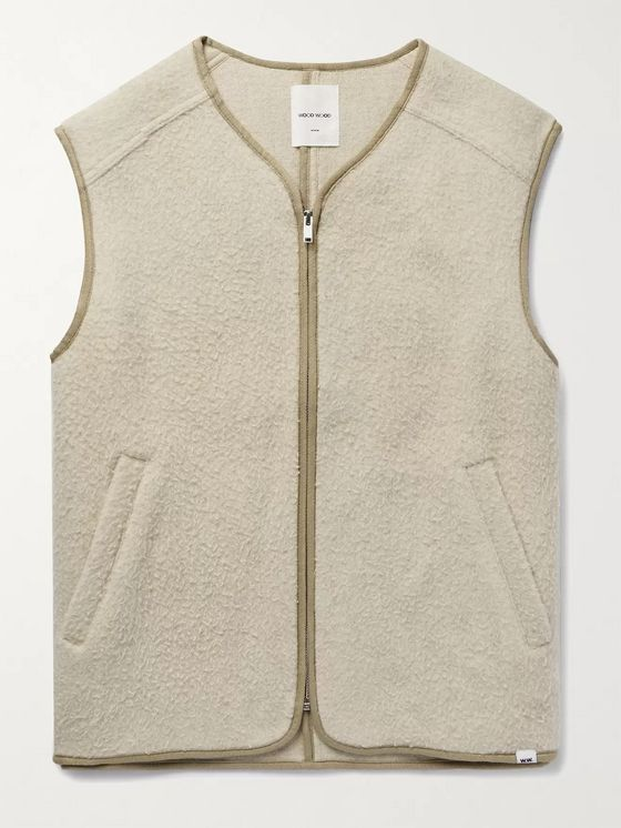 Wood Wood Victor Piped Brushed Wool-Blend Gilet