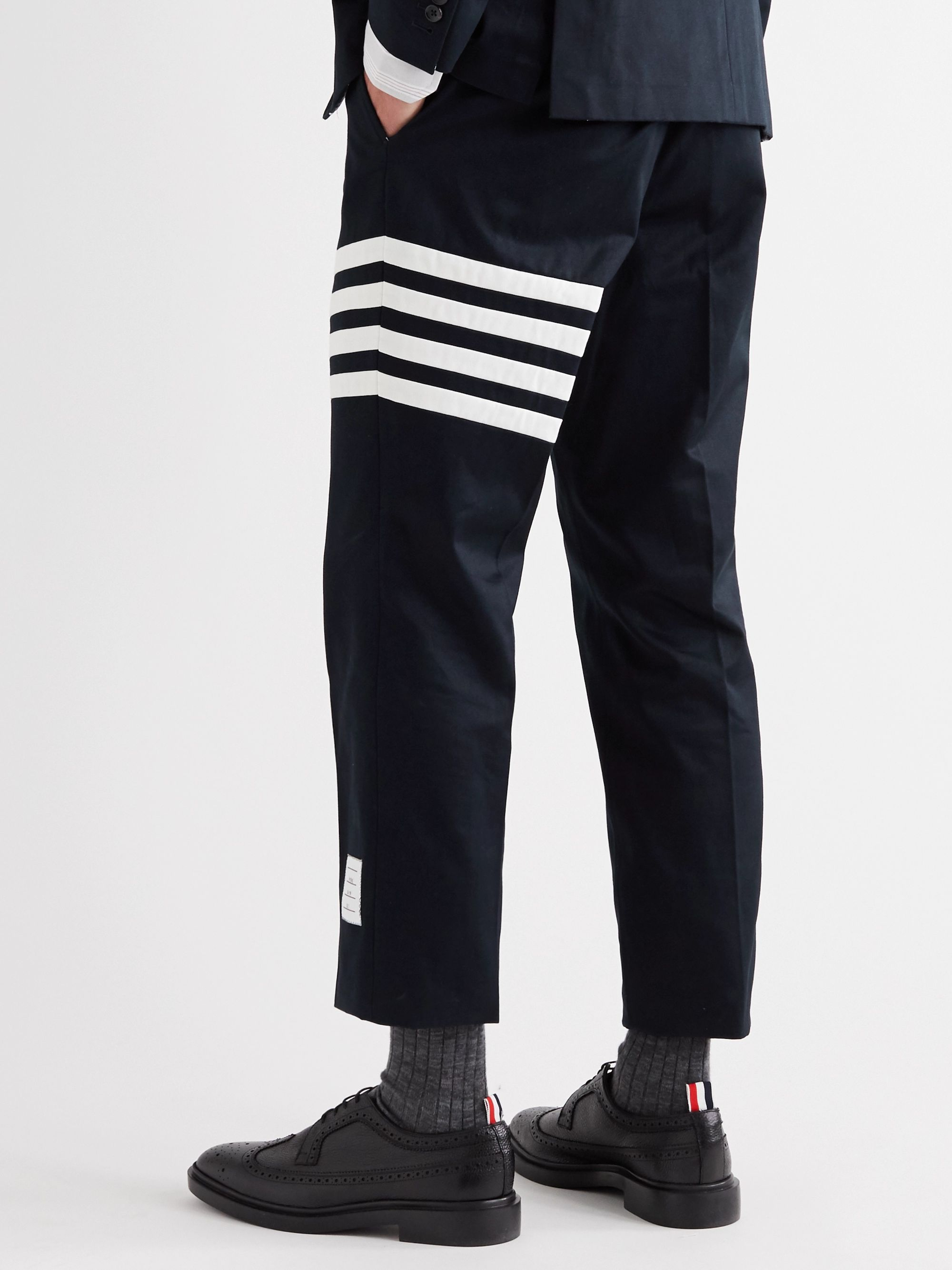 THOM BROWNE Slim-Fit Tapered Striped Cotton-Twill Chinos