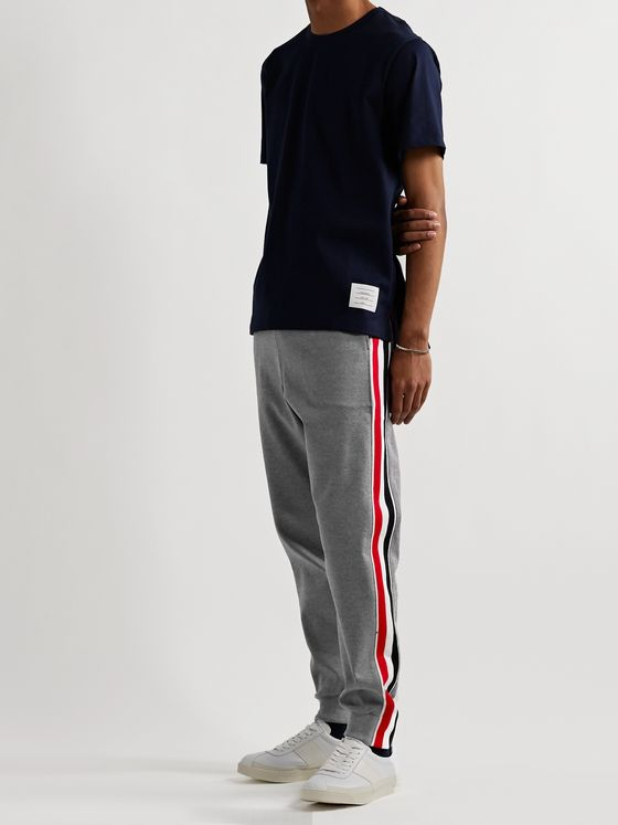 THOM BROWNE Tapered Striped Webbing-Trimmed Cotton-Jersey Sweatpants