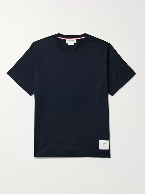 Thom Browne Appliquéd Grosgrain-Trimmed Cotton-Jersey T-Shirt
