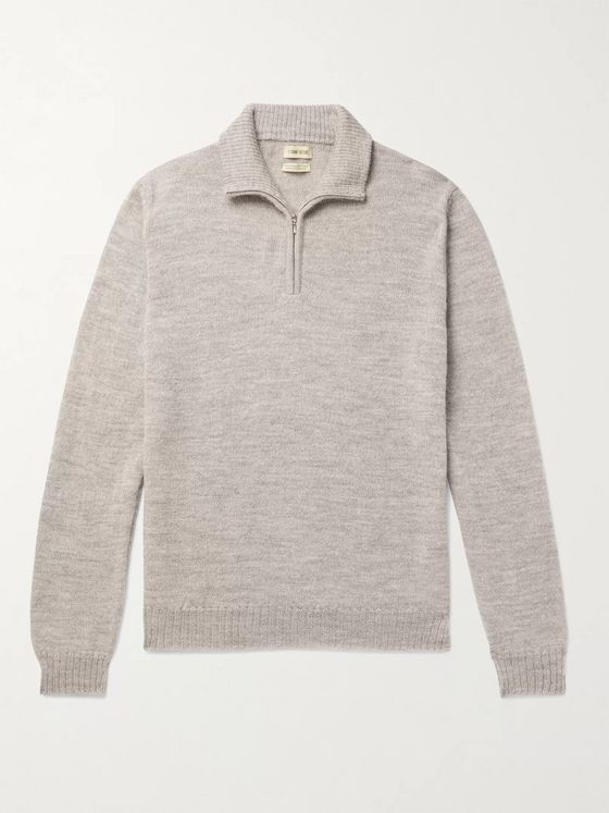 DE BONNE FACTURE Mélange Alpaca and Wool-Blend Half-Zip Sweater