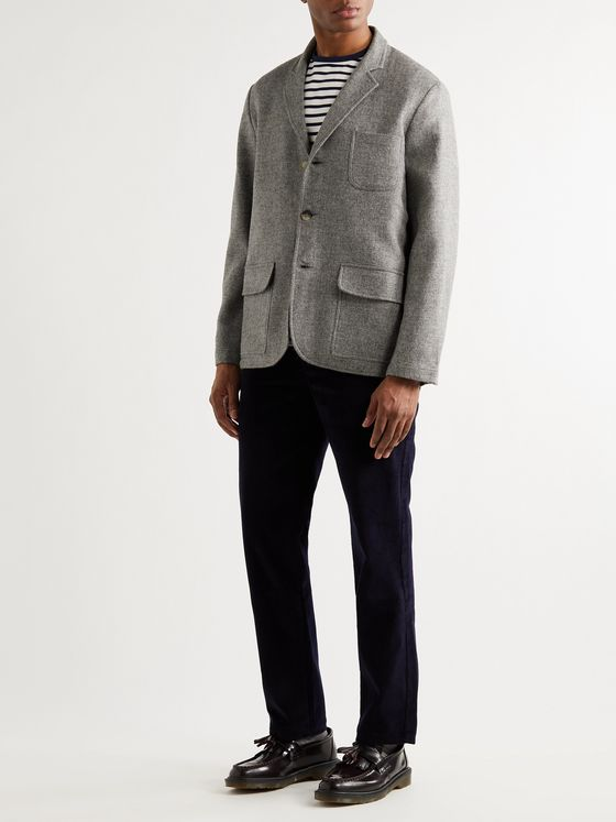 DE BONNE FACTURE Unstructured Mélange Brushed-Wool Suit Jacket