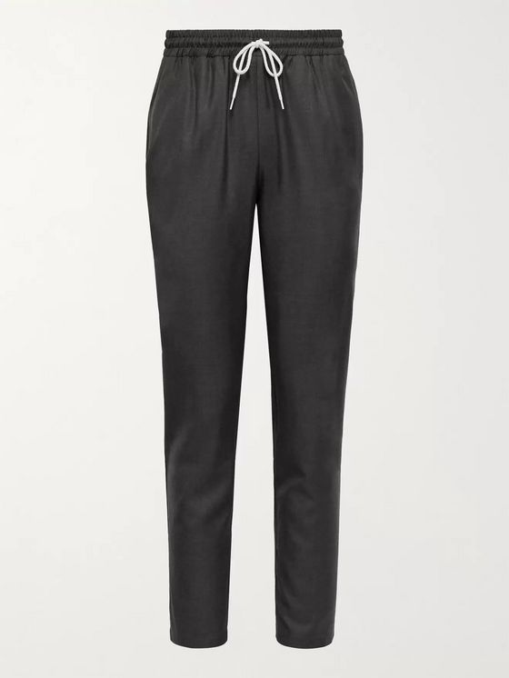DE BONNE FACTURE Tapered Wool-Twill Drawstring Trousers