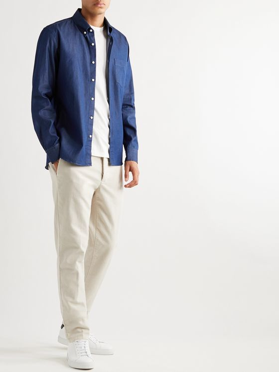 DE BONNE FACTURE Button-Down Collar Denim Shirt